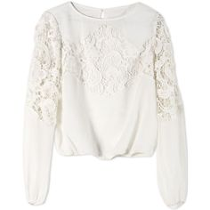 Alice+Olivia Blouse (£235) ❤ liked on Polyvore featuring tops, blouses, shirts, long sleeves, white, white lace top, long-sleeve shirt, long sleeve lace blouse, lace blouse and long sleeve shirts