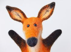 animal, the fox hand puppet, wet felted, number 2, MADE TO ORDER