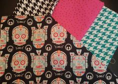 Help me decide! I'm making a #scouttee out of the sugar skull R2D2 & C3PO fabric and I'm adding a Peter Pan collar. Do I make it out of a) b&w houndstooth b) hot pink with glitter dots c) teal & white houndstooth or d) more sugar skulls? The Mister says b&w but I can't decide because I like all the options although I'm definitely leaning towards a contrasting collar. (Oh and I bought the last 2 yards of this print in all of Arizona like 2 weeks ago sorry!) #maythefourthsewing by…