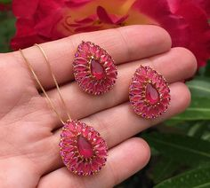 Ruby in 18k Gold filled Earrings and Pendant Necklace Set