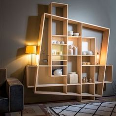 7 Terrific Modern Bookcase Ideas (High-Level Inspiration - Recently (Home Interior Design Ideas) - Diy Furniture, Furniture Design, Modular Furniture, System Furniture, Interior Design Wall, Furniture Plans, Modern Interior, Etagere Design, Muebles Living