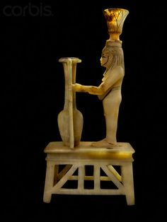 Alabaster sculpture with Hapy and vase from tomb of Tutankhamun