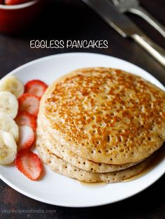 Eggless pancakes eggless pancake recipe with step by step pics. it is possible to make the best pancakes which are. Egg Free Pancakes, Whole Wheat Pancakes, Tasty Pancakes, Fluffy Pancakes, Pancake Recipe Without Eggs, Eggless Pancake Recipe, Pancake Recipes, Eggless Baking, Breakfast Recipes