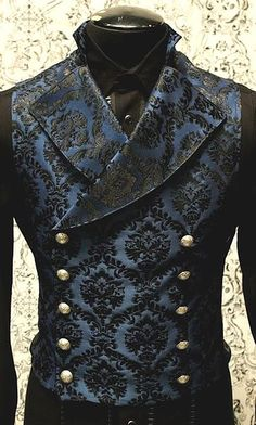 Elegant Dark Vest for Men. [Elegant double-breasted buttoned dark blue damask gentleman's vest]