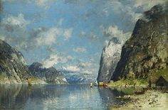 Late Spring, Norway by Adelsteen Normann Cool Landscapes, Landscape Paintings, Norway, Scandinavian, Spring, Water, Artist, Outdoor, Beautiful