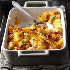 Loaded Twice-Baked Potato Casserole Recipe -My husband is a meat and potatoes guy, so I try new combinations for variety. In this dish, twice-baked potatoes and potato skins make a scrumptious casserole. —Cyndy Gerken, Naples, FL