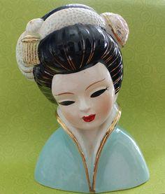 1950s Vintage Geisha Girl Head Vase