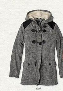 Heather grey coat with toggle button and hood. #cozy and adorable from Prana.