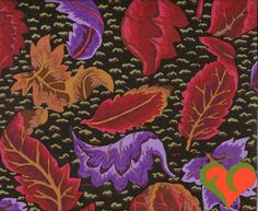 Early Kaffe Fassett Embroidered Leaf Black Fabric GP42. Half Yard. Extremely Rare. Retired. VHTF. OOP. by FayCarrieQAOT on Etsy