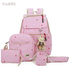 7389b5e9be775 Canvas Backpack Women For Teenagers Girls Preppy Style Composite School Bag  Set Printing Bear High Quality