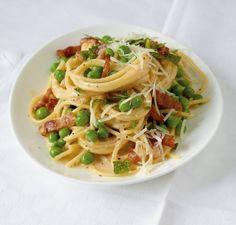 Spaghetti-Erbsen-Carbonara: Der italienische Klassiker mit Erbsen verfeinert - delizioso!