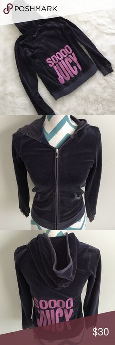 "Juicy Couture Hoodie Like new navy blue velour zip up hooded jacket. Super soft and comfy. ""Sooo Juicy"" in glitter written on the back. Originally purchased at the juicy store when it was open in the US. No flaws! Juicy Couture Shirts & Tops"