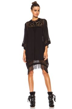 Isabel Marant Etoile | Enery Embroidered Tunic Viscose Dress in Black