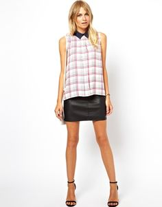 Image 4 of ASOS Top With Cutout Back And Contrast Collar In Pretty Check Print