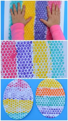 Bubble wrap Easter egg craft for kids