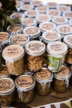 40 Personal DIY Details From Real Weddings || jars of nuts and healthy stuff as wedding favours... or 101 ways to kill Fiona :/