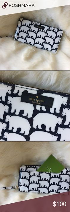 ⭐️KATE SPADE Polar Bear Wallet KATE SPADE POLAR BEAR WALLET. Super adorbs! Navy Blue and White. Never been used with tags. kate spade Bags Wallets