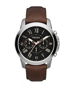 Fossil Mens Grant Silvertone and Leather Chronograph Watch Men's Brown