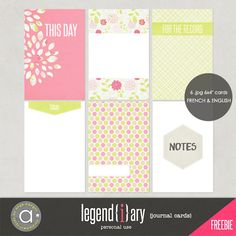 Legendiary journal cards freebie by Ange