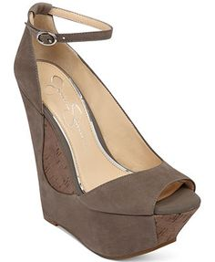 Jessica Simpson Maggey Ankle Strap Platform Wedges Curvy and lovely...