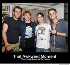 Neville Longbottom, Ron Weasley , Harry Potter and Draco Malfoy as they look today. Matthew Lewis, Rupert Grint, Daniel Radcliffe & Tom Felton all grown up! Note that Rupert is wearing a shirt from Dan's How to Succeed in Business performance.