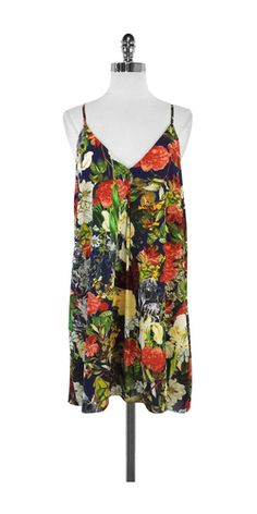 Alice & Olivia Blue Racerback Floral Shift Dress