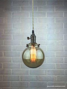 Glas Globe Edison Anhänger - Industrie Beleuchtung - Hängeleuchte - Rauchglas