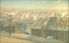 Henri Rivière. Paris Vue de Montmartre (Paris Viewed from Montmartre). Plate 2 for uPaysages Parisiens/u. Color lithograph, 1900. Published by Eugène Verneau, Paris. Signed in the stone. 20-1/2 x 32-1/4 inches. 28537