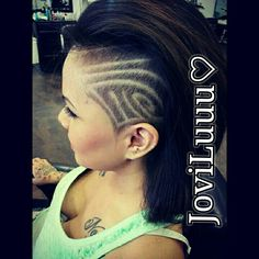 Once again my personal hair. Shaved side. Hair tattoos. Girls with designs.