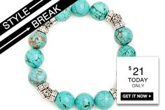 STYLE BREAK! Get the Leeze Turquoise Bracelet for $21. Today only!