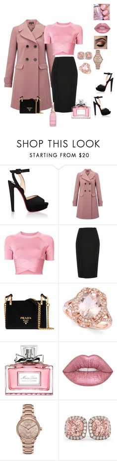 """ROSE"" by osirisarambuloh on Polyvore featuring moda, Christian Louboutin, Miss Selfridge, T By Alexander Wang, River Island, Prada, Effy Jewelry, Christian Dior, Lime Crime y Burberry"