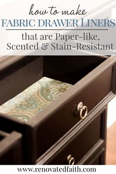 5 Easy Steps to Make Fabric Drawer Liners {Paper-like, Stain-Resistant & Scented} Retro Furniture, Farmhouse Furniture, Colorful Furniture, Repurposed Furniture, Furniture Projects, Furniture Makeover, Painted Furniture, Diy Furniture, Kitchen Furniture