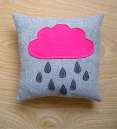 Pink Cloud and Rain Drops Cushion Pillow  10 x by Smallternative, £12.00