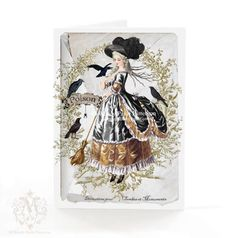 Hey, I found this really awesome Etsy listing at https://www.etsy.com/listing/157411754/halloween-card-witch-marie-antoinette