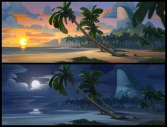 Shaddy, concept art, one pixel brush, digital painting, shaddy safadi Ocean Games, Ocean At Night, Water Island, Beach Background, Landscape Concept, Digital Painting Tutorials, Game Concept Art, Environment Concept Art, Land Art