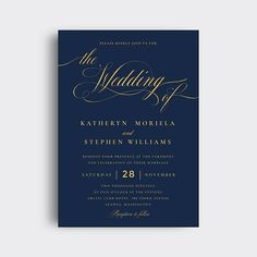 "#ESW014   ** This listing is ""DIGITAL FILE(S)"". No physical product will be shipped to you.**  *** Faux gold foil graphic ***  Elegant navy & gold wedding invitation suite. This PDF template set includes: Wedding invitation card, RSVP card, Thank you card (folded), Details card and Thank"