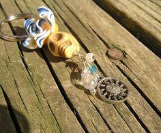 Day of the dead Sugar Skull yellow blue white Key chain Keychain Key ring SALE #donnaelizabeth