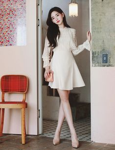 milkcocoa Korean Women, Korean Lady, Face Angles, Fasion, Cute Girls, Korean Fashion, White Dress, Beautiful Women, Cosplay