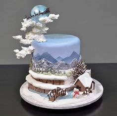 Winter Themed Fondant Scenery Cake tutorial (clickable link in bio)⁠ . Christmas Cake Designs, Christmas Cake Decorations, Christmas Desserts, Christmas Treats, Christmas Baking, Christmas Cakes, Pretty Cakes, Beautiful Cakes, Amazing Cakes