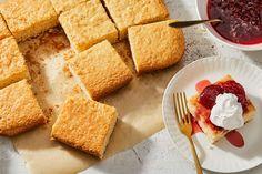 Easy Vanilla Sour Cream Cake: Strawberry & Butterscotch Whipped Cream Cake From Jami Curl Recipe on a recipe on Whipped Cream Cakes, Sour Cream Cake, Ice Cream, Cupcakes, Cupcake Cakes, Poke Cakes, Layer Cakes, Baking Recipes, Cake Recipes
