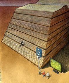 Polish illustrator Pawel Kuczynski cleverly uses satire to portray today's social, political and cultural reality. I Love Books, Books To Read, My Books, Caricatures, Some Pictures, Funny Pictures, Funny Pics, Funny Images, Tv Funny