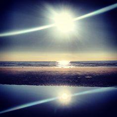 Reflecting sun at Beach Bloemendaal
