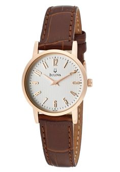 Bulova Watches Women's Dress Brown Genuine Leather Silver-Tone Dial Rose-Tone SS 97L121,    #Bulova,    #97L121,    #Dress