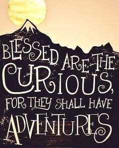 """""""Blessed are the curious, for they shall have adventure"""