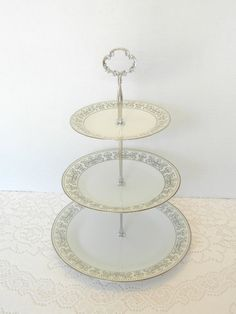 Dessert Stand, Noritake, Wedding Cake Stand, Vintage China, Cake Tray, Appetizer Tray, Black and White – Eminence 1960s-1970s