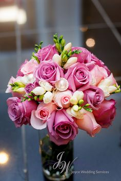 #Rose #Brides #Bouquet #Freesia #Pink #Hotpink #Purple #Ivory #Greenery #Crystal #Wedding #Flower