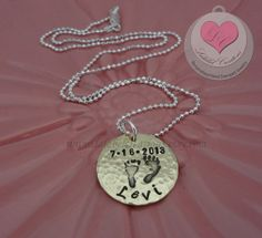 Baby Footprints Hand Stamped Necklace  New Mom by LalabelCreations, $26.80