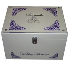 Ivory XL Wedding Memory Box with Decorative corners and names on acrylic on the…