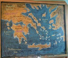 Waldorf ~ 5th grade ~ Ancient Greece ~ Map ~ chalkboard drawing