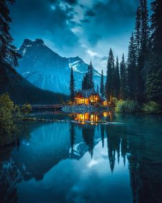 Photo by Cozy Log Cabin in Emerald Lake. Image may contain: sky, mountain, tree, outdoor, nature and water via Canon Photography, Nature Photography, Travel Photography, Morning Photography, House Photography, Photography Photos, Lifestyle Photography, Lac Canada, Couple Travel